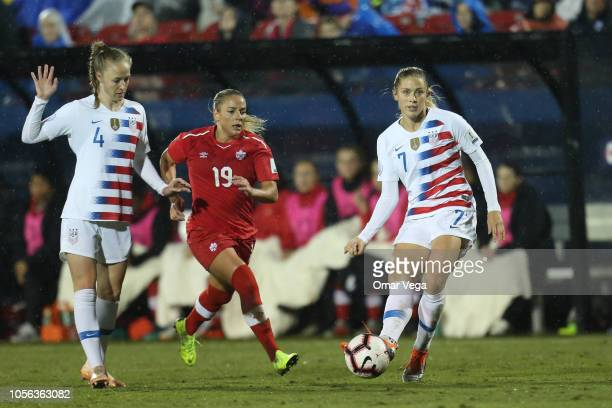 Abby Dahlkemper of United States shoots during a match between Canada and United States as part of CONCACAF Women's Championship at Toyota Stadium on...