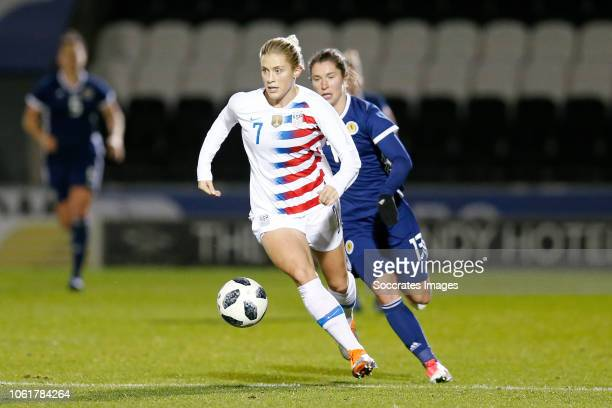 Abby Dahlkemper of USA Women Jane Ross of Scotland Women during the International Friendly Women match between Scotland v USA at the The Simply...