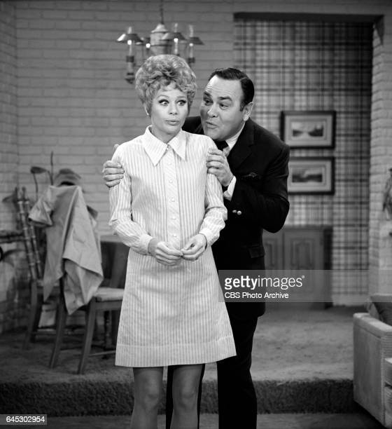 Abby Dalton and Jonathan Edwards perform a skit on THE JONATHAN WINTERS SHOW Image dated March 18 air date was March 27 1968
