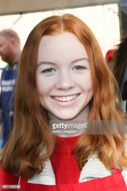 Abby Donnelly is seen at the Los Angeles Mission's Christmas Celebration on Skid Row on December 22 2017 in Los Angeles California