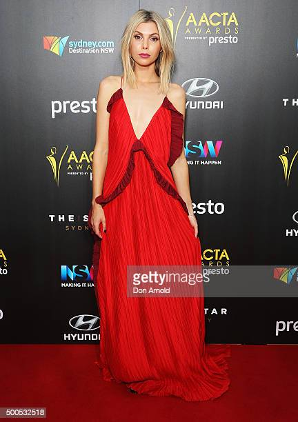 Abby Earl poses on the red carpet for the 5th AACTA Awards at The Star on December 9 2015 in Sydney Australia
