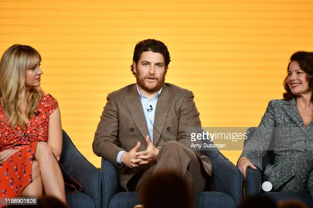 """Abby Elliott, Adam Pally and Fran Drescher of """"Indebted"""" speak during the NBCUniversal segment of the 2020 Winter TCA Press Tour at The Langham..."""