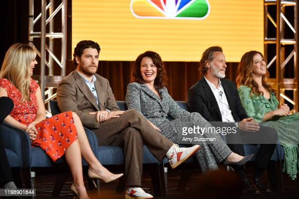 """Abby Elliott, Adam Pally, Fran Drescher, Steven Weber and Jessy Hodges of """"Indebted"""" speak during the NBCUniversal segment of the 2020 Winter TCA..."""