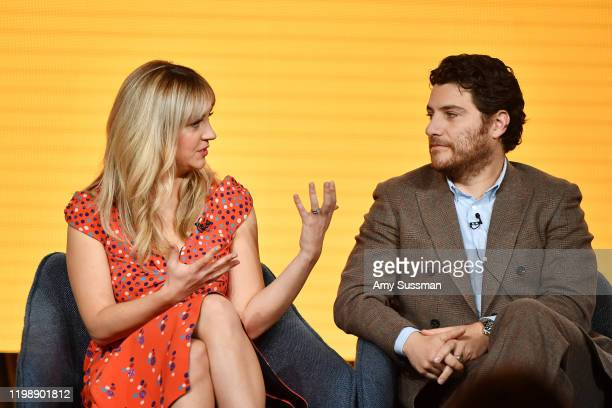 """Abby Elliott and Adam Pally of """"Indebted"""" speak during the NBCUniversal segment of the 2020 Winter TCA Press Tour at The Langham Huntington, Pasadena..."""