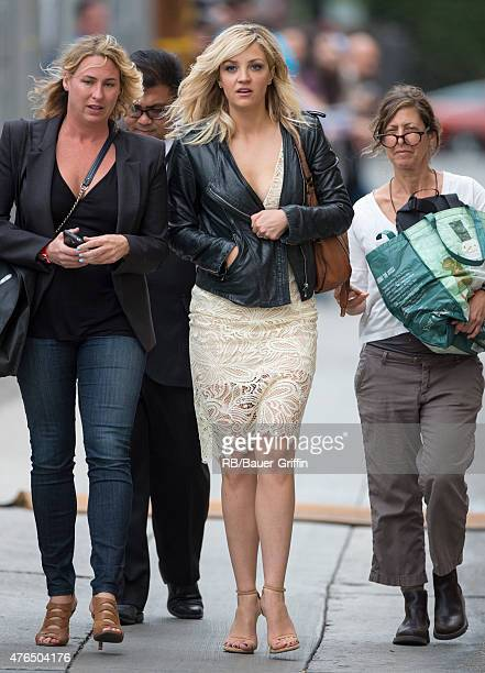 Abby Elliott is seen getting fans at the studios of 'Jimmy Kimmel Live' on June 09 2015 in Los Angeles California