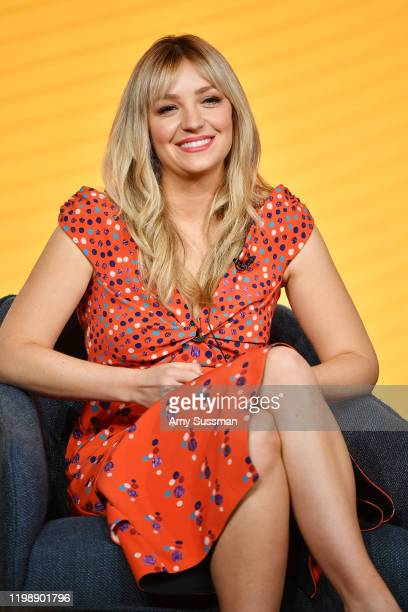 Abby Elliott of Indebted speaks during the NBCUniversal segment of the 2020 Winter TCA Press Tour at The Langham Huntington Pasadena on January 11...
