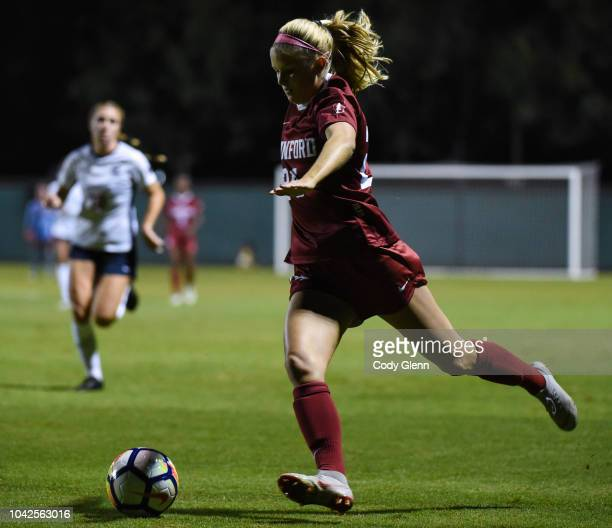 Abby Gruebel of Stanford University in action against University of Arizona at Laird Q Cagan Stadium on September 21 2018 in Stanford California
