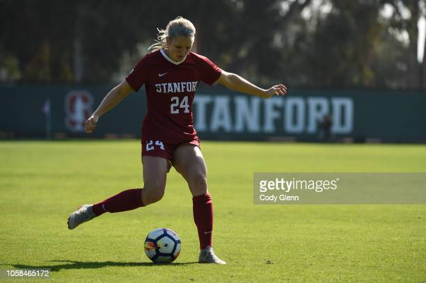 Abby Gruebel of the Stanford Cardinal in action against the Colorado Buffaloes at Laird Q Cagan Stadium on October 21 2018 in Stanford California