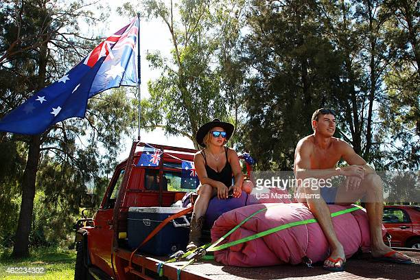 Abby Gudgeon and Robert Gibbs pack their ute and prepare to hit the road after celebrating the Australia Day long weekend at the Tamworth Country...