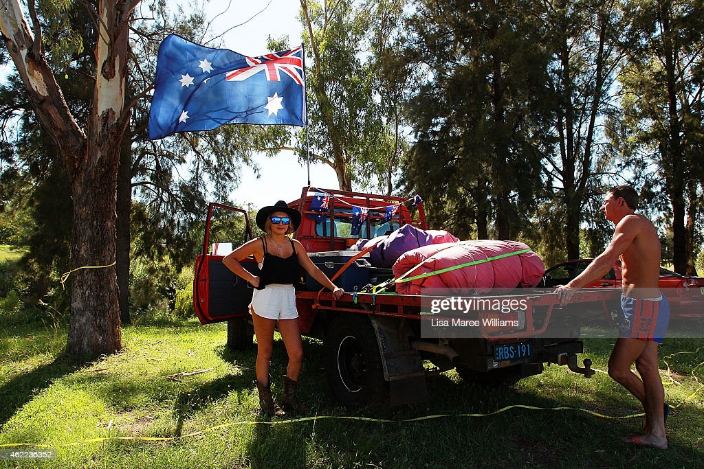 Abby Gudgeon and Robert Gibbs pack their ute and prepare to hit the road after celebrating the Australia Day long weekend at the Tamworth Country Music Festival on January 26, 2015 in Tamworth, Australia. Australia Day, formerly known as Foundation Day, is the official national day of Australia and is celebrated annually on January 26 to commemorate the arrival of the First Fleet to Sydney in 1788.