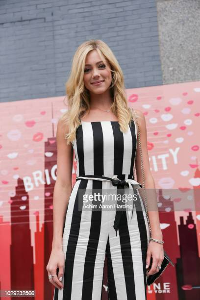 Abby Hornacek is seen wearing a custom black and white striped dress and black shoes on the street during New York Fashion Week on September 7 2018...