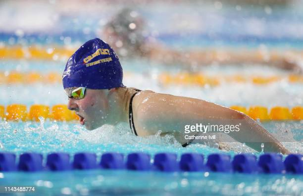 Abby Jackson competes in the Women's 200m Butterfly heats during Day Three of the British Swimming Championships 2019 at Tollcross International...