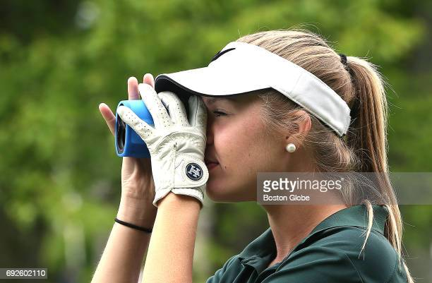 Abby Jaye of Hopkinton uses a scope in the South Sectional qualifier at Ridder Farm Country Club in East Bridgewater MA on May 30 2017