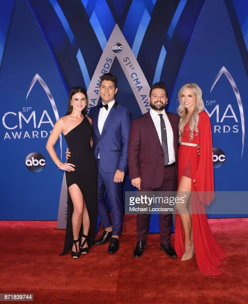 Abby Law Dan Smyers and Shay Mooney of Dan Shay and Hannah Billingsley attend the 51st annual CMA Awards at the Bridgestone Arena on November 8 2017...