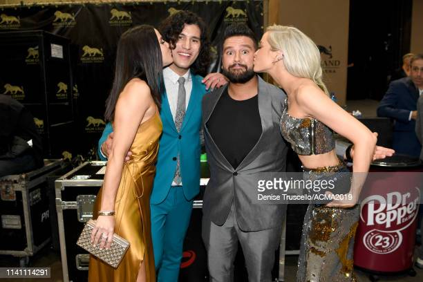 Abby Law Dan Smyers and Shay Mooney of Dan Shay and Hannah Billingsley pose back stage during the 54th Academy Of Country Music Awards at MGM Grand...