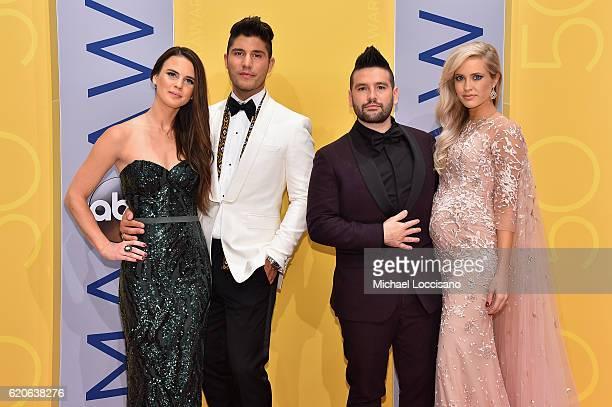 Abby Law Dan Smyers of Dan Shay Shay Mooney of Dan Shay and Hannah Billingsley attend the 50th annual CMA Awards at the Bridgestone Arena on November...