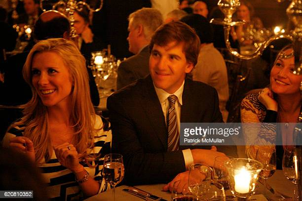 Abby McGrew and Eli Manning attend Private Dinner with ERMENEGILDO ZEGNA & The Robin Hood Foundation at University Club on March 11, 2008 in New York...