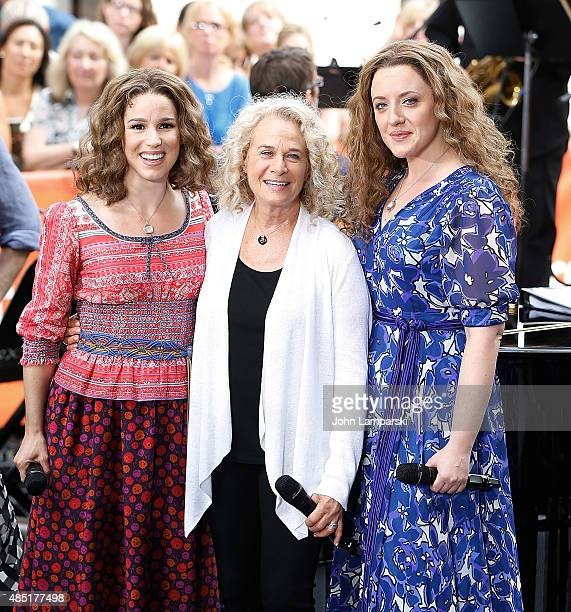 Abby Mueller Carole King and Chilina Kennedy perform on NBC's 'Today' at Rockefeller Plaza on August 25 2015 in New York City