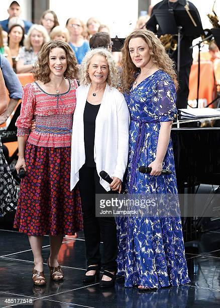 Abby Mueller Carole King and Chilina Kennedy perform on NBC's Today at Rockefeller Plaza on August 25 2015 in New York City