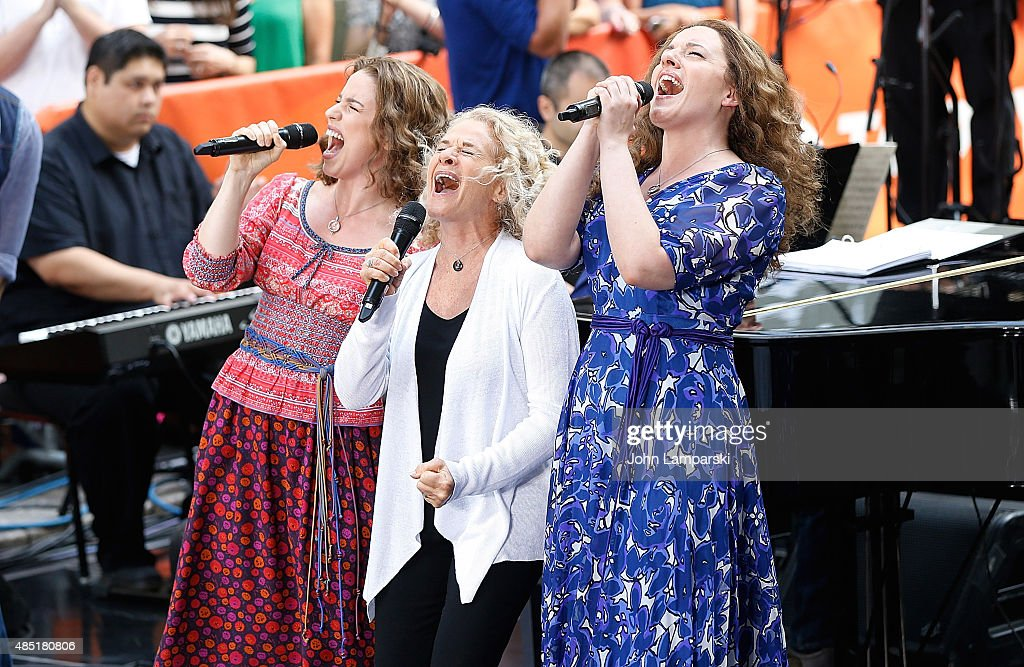 Abby Mueller, Carole King and Chilina Kennedy perform on NBC's 'Today' at Rockefeller Plaza on August 25, 2015 in New York City.