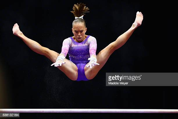 Abby Paulson competes on the uneven bars during the Sr Women's 2016 Secret US Classic at the XL Center on June 4 2016 in Hartford Connecticut