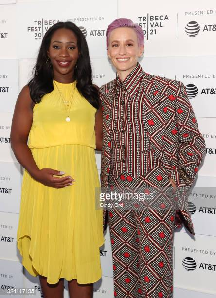 """Abby Phillip and Megan Rapinoe attend the """"Let's F*****g Go"""" premiere during the 2021 Tribeca Festival at Battery Park on June 17, 2021 in New York..."""