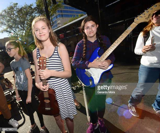 Abby Price Amelia Bajilia and Regan de la Cruz of the Noisemakers smile after the soundcheck with Portugal The Man at the Jannus Live on April 8 2017...