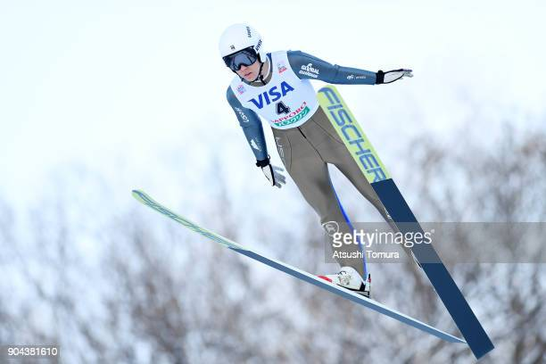 Abby Ringquist of the USA competes in the Ladies normal hill individual during day one of the FIS Ski Jumping Women's World cup at Miyanomori Ski...