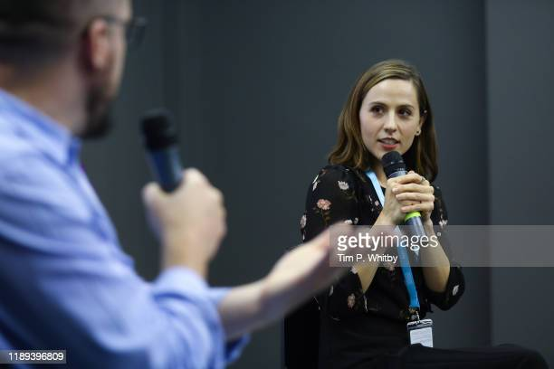 Abby Trott holds a talk in the Geekdom area called ' The exciting world of voice acting for video games and animation' during the Ajyal Film Festival...