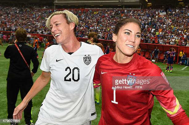 Abby Wambach and Hope Solo of USA celebrate at the end of the FIFA Women's World Cup 2015 Final between USA and Japan at BC Place Stadium on July 5...