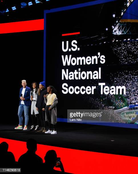 Abby Wambach Christen Press Tobin Heath and Crystal Dunn speak onstage during the Hulu '19 Presentation at Hulu Theater at MSG on May 01 2019 in New...