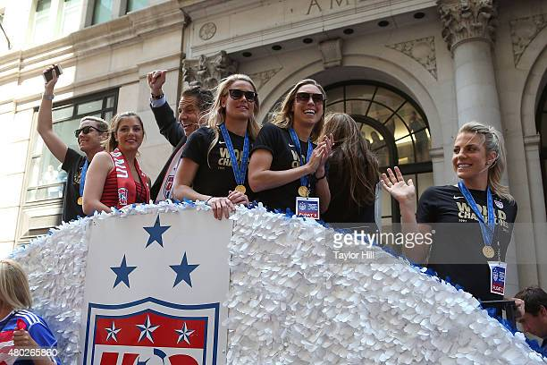 Abby Wambach Michaela Cuomo and Governor Andrew Cuomo ride in a tickertape parade commemorating the World Cup victory of the US Women's National Team...