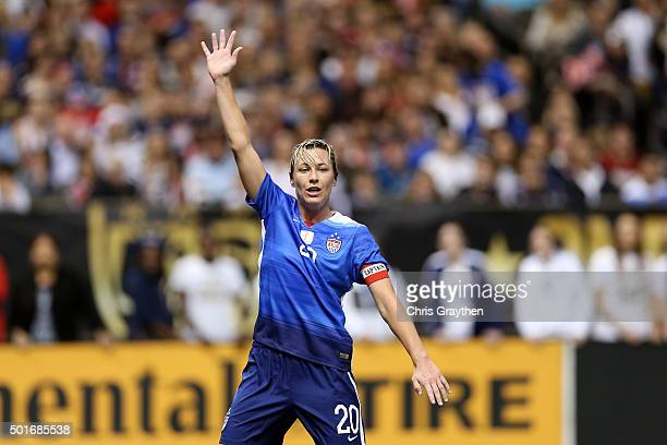 Abby Wambach of the United States calls for a pass during the women's soccer match against China at the MercedesBenz Superdome on December 16 2015 in...