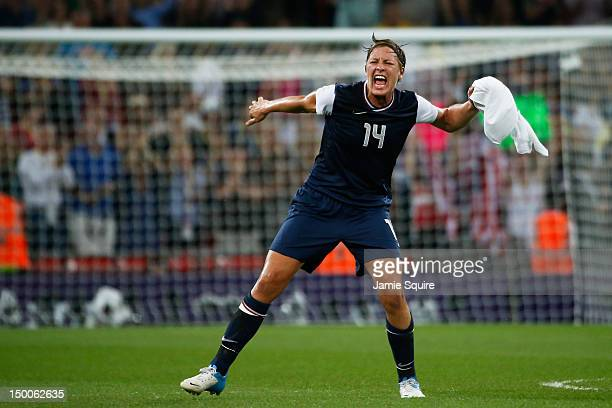 Abby Wambach of the United States celebrates after defeating Japan by a score of 21 to win the Women's Football gold medal match on Day 13 of the...