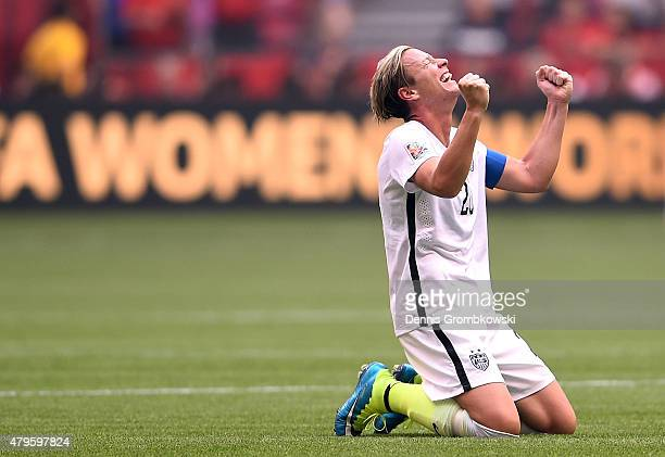 Abby Wambach of the United States celebrates the 5-2 victory against Japan in the FIFA Women's World Cup Canada 2015 Final at BC Place Stadium on...