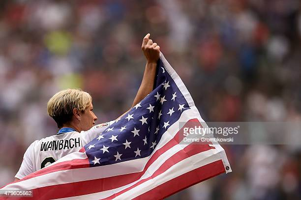 Abby Wambach of the United States of America celebrates after their 52 win over Japan in the FIFA Women's World Cup Canada 2015 Final at BC Place...