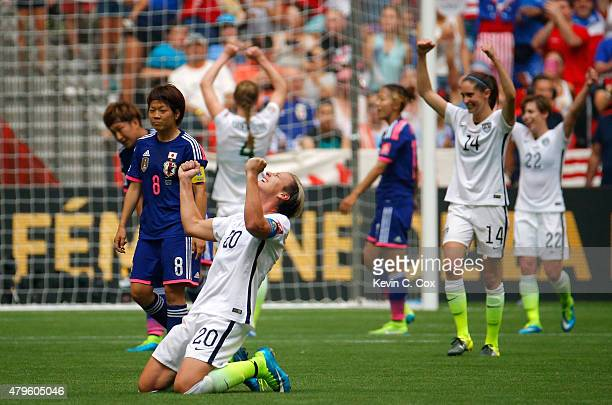 Abby Wambach of the United States of America celebrates as time expires in their 5-2 win over Japan in the FIFA Women's World Cup Canada 2015 Final...