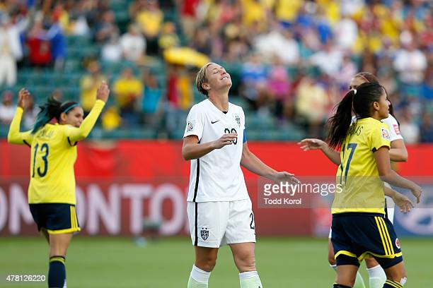 Abby Wambach of the United States reacts after missing a penalty kick against Colombia in the second half in the FIFA Women's World Cup 2015 Round of...
