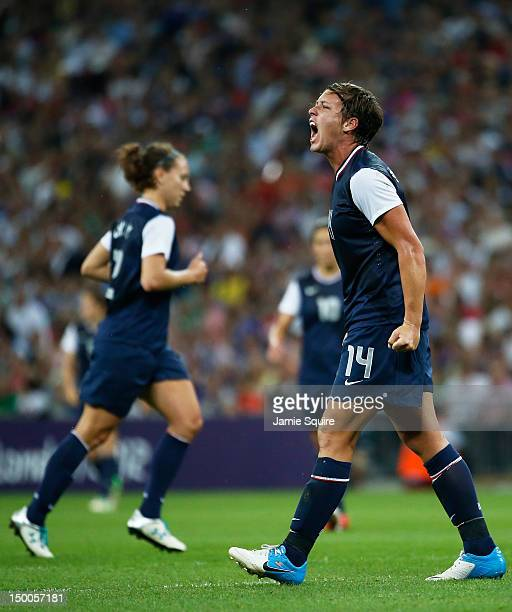 Abby Wambach of the United States reacts against Japan during the Women's Football gold medal match on Day 13 of the London 2012 Olympic Games at...