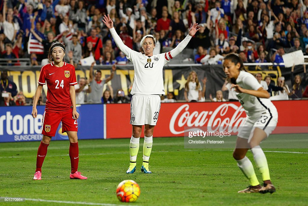 Abby Wambach #20 of the United States reacts as USA nearly scores a goal against China during the second half of the women's soccer match at University of Phoenix Stadium on December 13, 2015 in Glendale, Arizona. USA defeated China 2-0.
