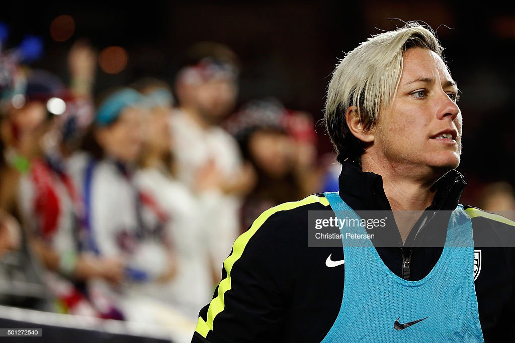 Abby Wambach #20 of the United States warms up before taking the field against China during the second half of the women's soccer match at University of Phoenix Stadium on December 13, 2015 in Glendale, Arizona. USA defeated China 2-0.