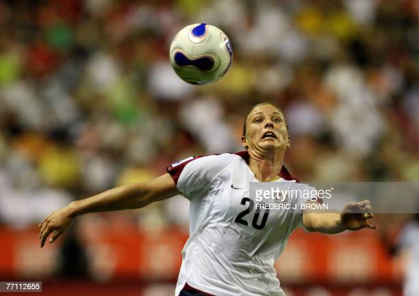 Abby Wambach of the US eyes the ball during their match for third place against Norway in the FIFA Women's World Cup 2007 football tournament at the...