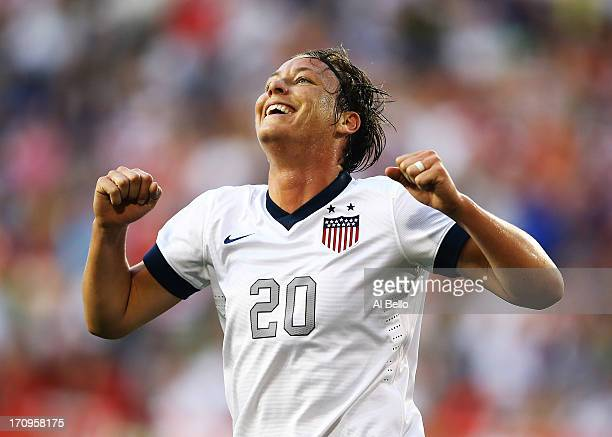 Abby Wambach of the USA 157th International goal against Korea Republic during the first half of their game at Red Bull Arena on June 20 2013 in...