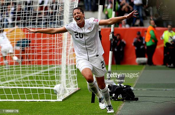 Abby Wambach of the USA celebrates as her side takes a 10 lead during the FIFA Women's World Cup 2011 Semi Final match between France and USA at...