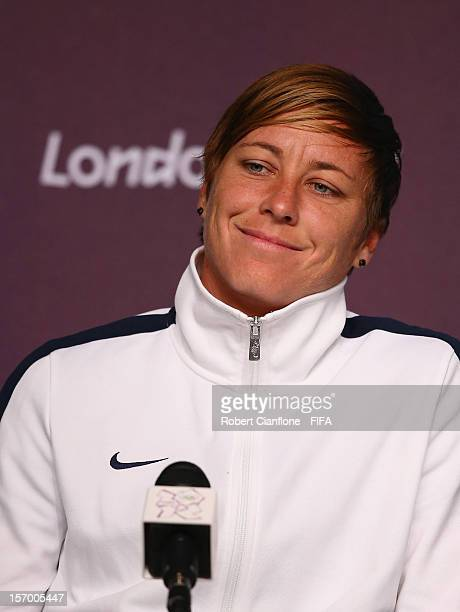 Abby Wambach of the USA is seen during the Women's Football Final press conference at the Main Press Centre as part of the London 2012 Olympic Games...