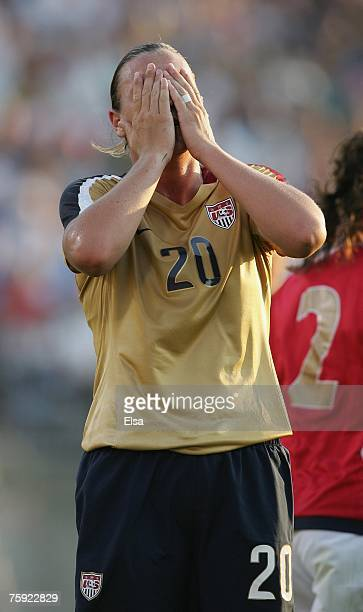 Abby Wambach of the USA reacts during the game against Norway during the Women's World Cup SendOff Series on July 14 2007 at Rentschler Field in East...