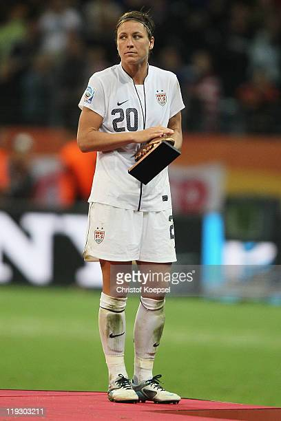 Abby Wambach of the USA won the adidias silver ball award and looks dejected on the podium after losing 35 after penalty shootout the FIFA Women's...
