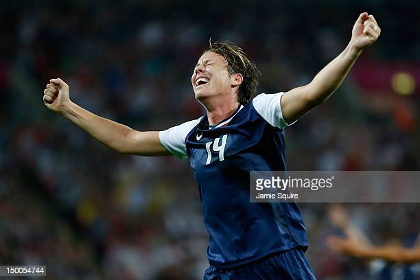 Abby Wambach of United States reacts after a goal by Carli Lloyd in the second halfagainst Japan during the Women's Football gold medal match on Day...