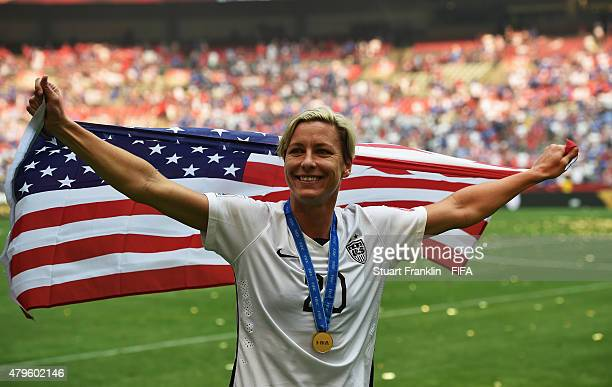 Abby Wambach of USA celebrates after winning the FIFA Women's World Cup Final between USA and Japan at BC Place Stadium on July 5 2015 in Vancouver...