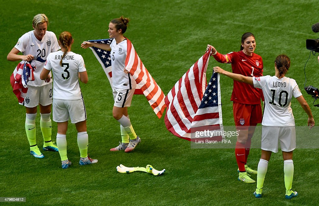 Abby Wambach of USA, Christie Rampone of USA, Kelly O Hara of USA, Hope Solo of USA and Carli Lloyd of USA celebrate after winning the FIFA Women's World Cup 2015 Final between USA and Japan at BC Place Stadium on July 5, 2015 in Vancouver, Canada.